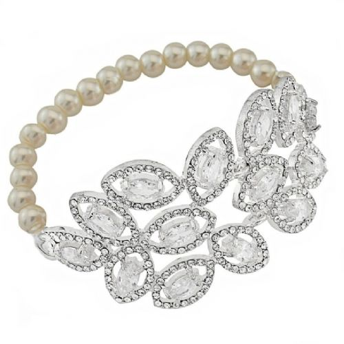 Pearl & crystal bridal bracelet, wedding bracelet